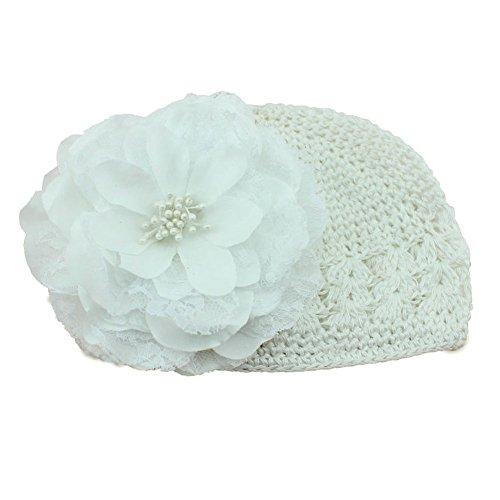 Demarkt Baby Girl Peony Flower White Cap Winter Knitted Crochet Beanie Handmade Hat