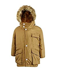 Zity Boys winter Padded Jacket with Pockets Belt and Fur Hooded
