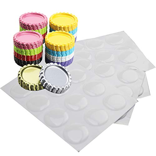 Bottle Crown Caps Flattened Bottle Cap Mixed Colors with Clear Epoxy Dot Stickers for Crafting Bows Magnets Pendant and Medals (100 Pairs)