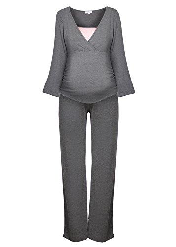 lunghe grigio maniche Pigiama Rosa a pigiama righe strisce donna pigiama leggero estate per bianco primavera da blu Scuro marittime Grigio la per Herzmutter 2100 allattamento Zqw6R6