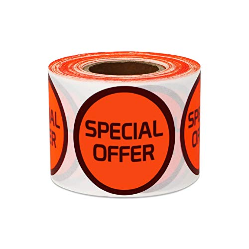 (300 Labels - Special Offer Stickers for Retail Store Shop Tag Yard Sale (1.5 inch Round Orange - 1 Roll))