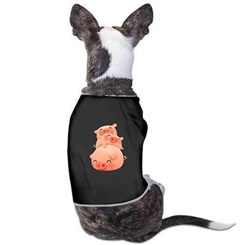 Yuejh Xs Dog Clothes Cute Happy Joyful Piggy Animal Pig Custom Soft Small Medium Large Pet Puppy Cloth Dog T Shirt for Dogs Pet Summer Camp Dress for Dogs ()