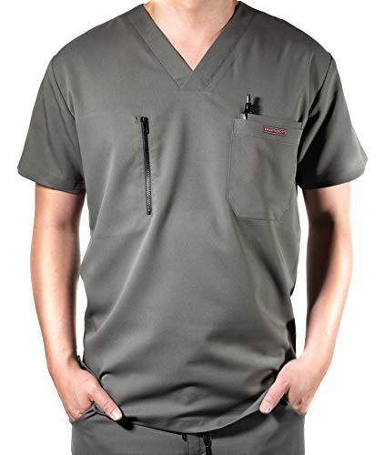 (Krafted Cut Cincy Premium 4-Pocket Slim Fit Scrub Shirt (X-Large, Gunmetal Olive))