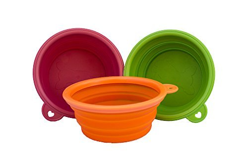 Planet Petz Original – Set of 2 Silicone Expandable/Collapsible Travel Bowls On The Go – Size 14 Oz/1.75 Cups For Sale