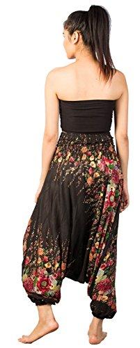 Lofbaz Jumpsuit Pantalones Harem de cintura estampado de flores funky Smocked Mujeres Floral 1 Negro