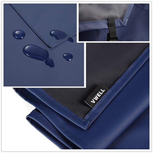 Waterproof Rubber Vinyl Apron with 2 Pockets - Chemical Resistant Work Cloth - Adjustable Bib Butcher Apron - Best for DishWashing, Lab Work, Butcher, Dog Grooming, Cleaning Fish (Blue) by VWELL (Image #2)
