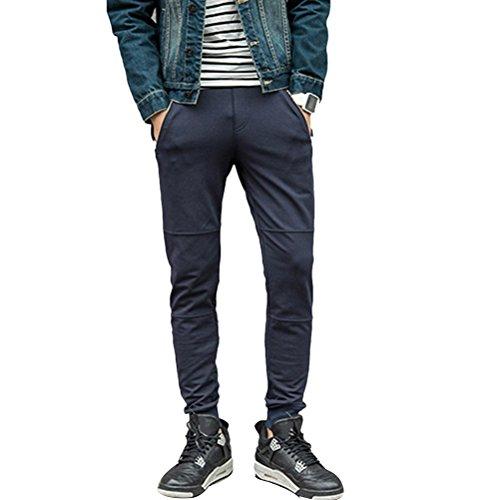 Zhhlinyuan alta calidad Men's Autumn Winter Classic Fashion Cotton Pants Trousers Elasticity Waist Large Size Dark Blue