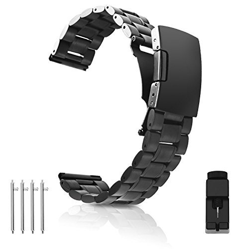 Vetoo 304 Stainless Steel 20mm Watch Bands for Moto 360 2nd Gen 46mm,Pebble Time,Time Steel,Classic,ASUS ZenWatch WI500Q,WI501Q,Samsung Gear 2 R380,Neo R381,Live R382,LG G Watch W100,Urbane,R(Black)