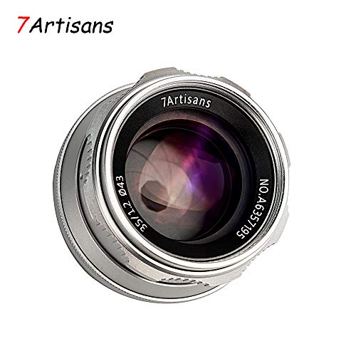 7artisans 35mm F1.2 APS-C Manual Focus Lens Widely Fit for Compact Mirrorless Cameras Fuji X-A1 X-A10 X-A2 X-A3 A-at X-M1 XM2 X-T1 X-T10 X-T2 X-T20 X-Pro1 X-Pro2 X-E1 X-E2 E-E2s (Silver)