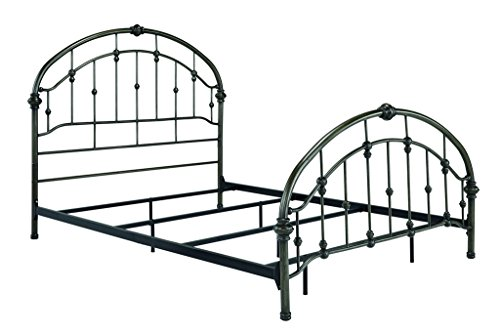 Ashley Furniture Signature Design - Nashburg Metal Headboard and Footboard with Rails - Traditional Style - Component Piece - Queen Size - Bronze Finish