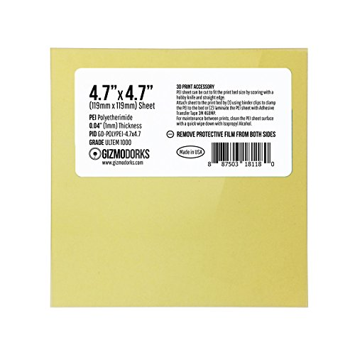 Gizmo Dorks PEI Sheet 4.7'' x 4.7'' (120mm x 120mm) 1mm Thick Build Surface for 3D Printer, Made in The USA by Gizmo Dorks