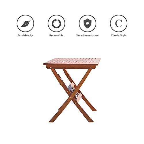 VIFAH V03 Outdoor Wood Folding Bistro Table,Natural Wood Finish, 24 by 24 by 28-Inch