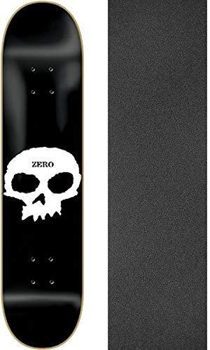 "Zero Skateboards Single Skull Skateboard Deck - 8"" x 32"" with Mob Grip Perforated Black Griptape - Bundle of 2 Items"