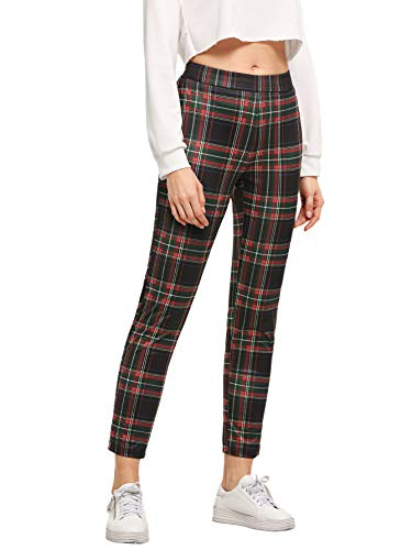 WDIRARA Women's Plaid Print Pants Elastic Waist Soft Printed Fashion Leggings Red L ()