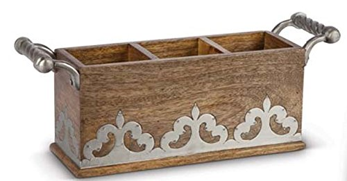 Heritage Wood and Metal Flatware Caddy