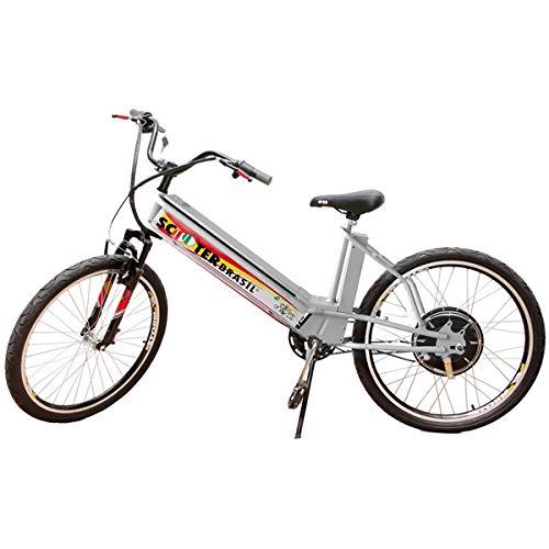 Bicicleta Elétrica MTB 800W 48V 12Ah Prata