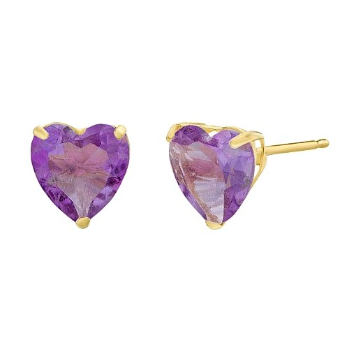 Lavari - 1.40 cttw Heart 6MM Natural Purple Amethyst 10K Yellow Gold Stud Earrings