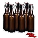 YEBODA 16 oz Amber Glass Beer Bottles for Home