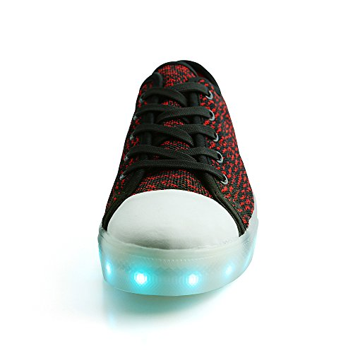 Peak Ideen Rammer Barn Mens Women Led Usb Lading Sko Flyknit Low Top Sneakers Svart / Rød