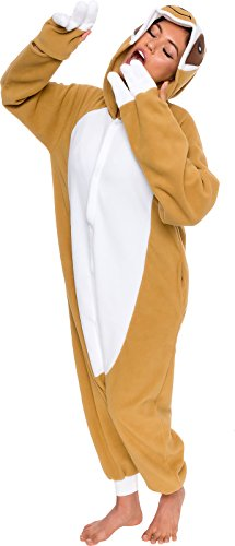 Silver Lilly Unisex Adult Pajamas - One Piece Cosplay Sloth Animal Costume (S) Brown -