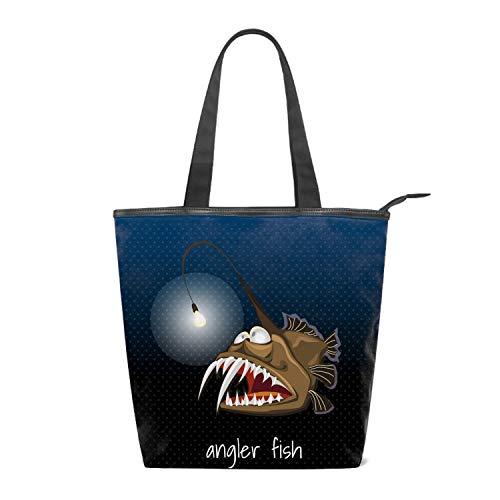 (Canvas Angler Fish With A Lantern Monkfish Sea Devil Tote Bag Zipper Closure Shoulder Bag Travel Bag for Weekend Perfect Bag for Gift)