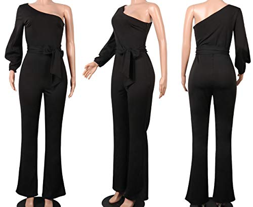 c24d2bc58fc Voghtic Women s Elegant One Shoulder Long Sleeve Jumpsuits High Waisted  Romper with Belt