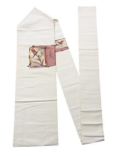 シンカン野球外出リサイクル 名古屋帯 正絹 紬 色紙に植物模様 八寸