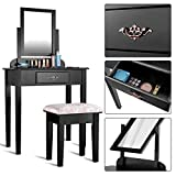 Giantex White Bathroom Vanity Dressing Table Set Mirror with Stool (1 Drawer Black)