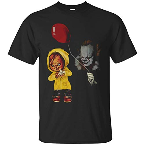 shopee-t IT Stephen King - Chucky and Pennywise Halloween Inspired Funny T-Shirt Black