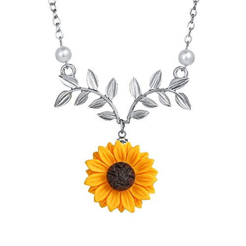 17mile Sunflower Pearl Leaf Chain Resin Boho Handmade Drop Pendant Choker Necklace Plated Gold/Rose Gold/Silver ()