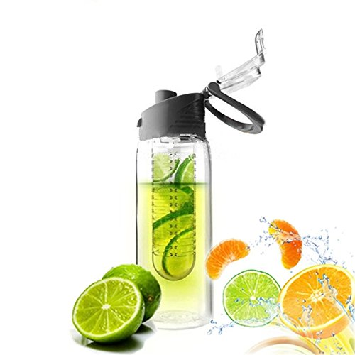 NYKKOLA 700ML Sport Infuser Fruit Water Bottle Juice Cup Travel Mugs for Office School Sports Cycling Running Camping Hiking Gym Healthy BPA Free(BK)