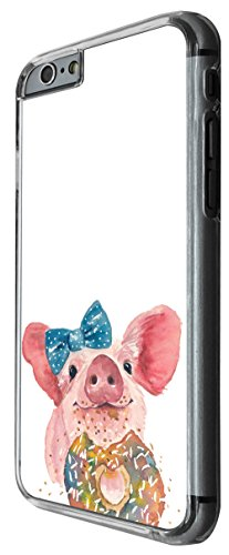 1019 - Cool fun cute pig art pet farm animal illustration doodle donut bow funny animal Design For iphone 6 Plus / iphone 6 Plus S 5.5'' Fashion Trend CASE Back COVER Plastic&Thin Metal -Clear