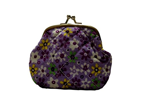 Lovely Small Purple Floral Design Kiss Lock Quilted Look Coin Purse - Heirloom Crocheted
