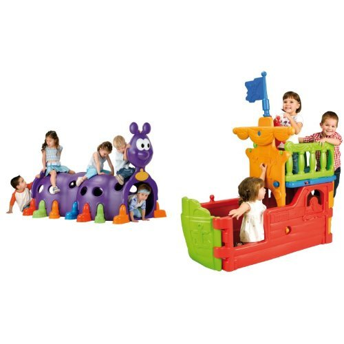 ECR4Kids Play Structures including Caterpillar Climbing Structure and Preschool Home Active Play Plastic Buccaneer Boat with Pirate Flag by ECR4Kids