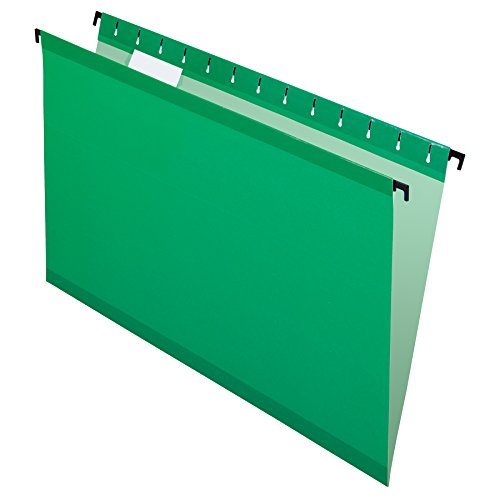 Pendaflex SureHook Reinforced Hanging Folders, Legal Size, Bright Green, 1/5 Cut, 20/BX (6153 1/5 BGR)