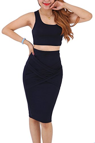 YMING Women's Crop Top and Skirt Set Plus Size Clubwear Bandage Dress Black 3XL (Matching Crop Top And Pencil Skirt Set)
