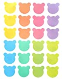 Pastel Soft Colors Sticker Labels 1 Inch. Approx. (6 Sheet Pack / 144 Piceses Per Pack) - Teddy Bear Head