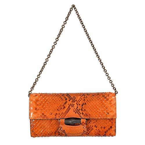 Gucci Women's Orange Python Skin Clutch Handbag Shoulder Bag