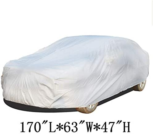 Pickup Trucks SUV INTBUYING M Size Outdoor/ PEVA Full Car Cover UV Snow Dust Rain Resistant Protection Waterproof Windproof Scratch Resistant/ All Weather Fits CAR Van