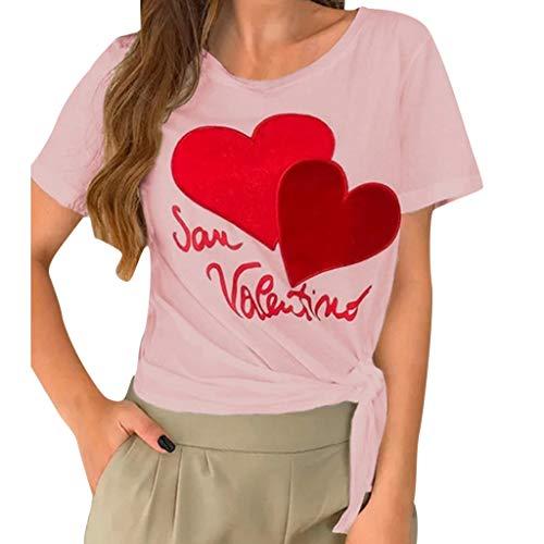 (Women's Tops Casual Short Sleeve O Neck Tops Summer Letter Print T-Shirt Tops Pink)