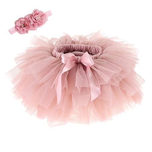 Baby Girls Tutu Skirt Headband Set Newborn Toddler Ruffle Tulle Diaper Covers 0-24 Months (Bean Sand) ()