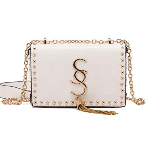 Chaîne de sac à bandoulière sac à main avec cuir carré couleur unie, b