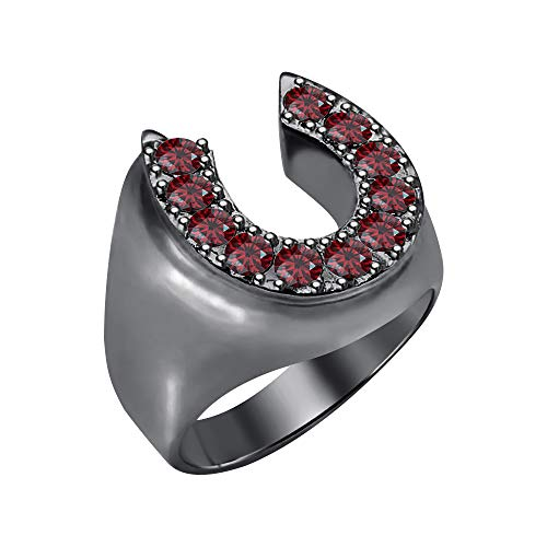 RUDRAFASHION Lucky Horse Shoe Round Cut Red Garnet 14K Black Gold Over 925 Sterling Silver Men's Ring