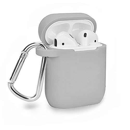 Groza Premium Silicone Case for Apple AirPods Charging Case, Crash Scratch Resistant Anti Slipping Holder Seamless Fit Splash Dust Proof Pouch for Air Pods Earbuds (Gray) -