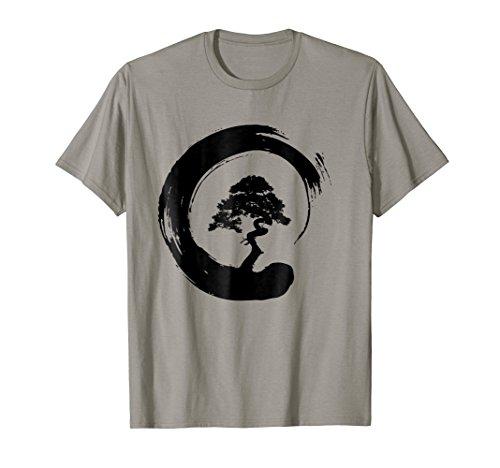 (Mens Bonsai Tree Enso Circle - Buddhist Zen Calligraphy T-Shirt Large Slate)