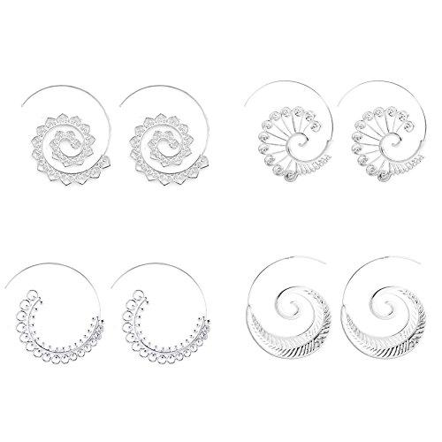 KissYan Spiral Hoop Earrings Sets Bohemian Earrings Tribal Jewelry For Women Alloy Circles Earrings, 4 Pairs (Silver Spiral Earrings)