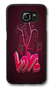 Love in pink PC Case Cover for Samsung S6 and Samsung Galaxy S6 Black