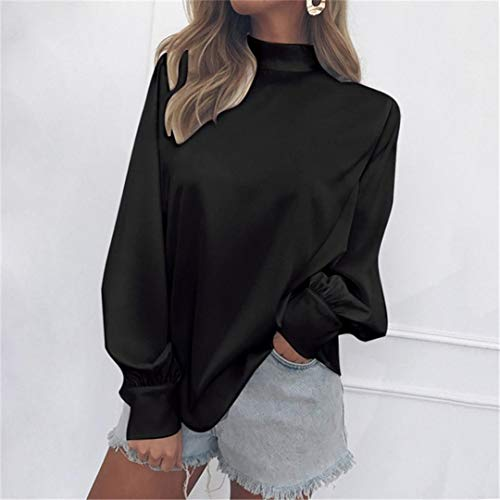 Dames Femme Shirt T Bureau Blouse T Womens Lanterne Mode Noir Shirt Chemisier T Femme Verte Col Solide Tops Roul Mousseline Shirt zPffUqwt
