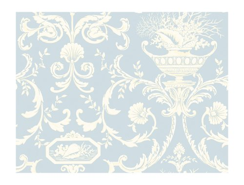 Blue Scroll Wallpaper - York Wallcoverings By The Sea NH6001 Neoclassic Shells Wallpaper, Blue/White