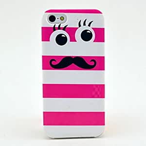 Pink Cute Mustache Pattern Soft Tpu Imd Case for iPhone 5/5S
